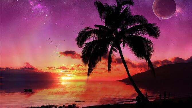 Природа Пальми, Захід сонця, Схід сонця, Море, Острови 2061231545